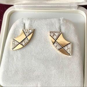 Vintage 1980s Scott Keating 14K Diamond Earrings
